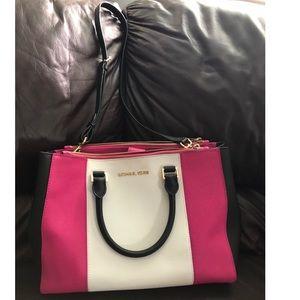 Michael Kors Pink & White Sutton Handbag